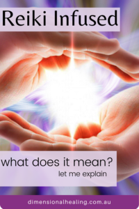 picture of hands held palms towards each other showing reiki infused item between them