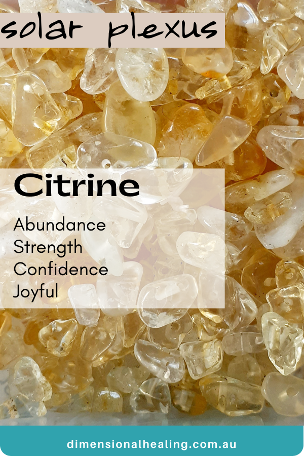 showing a bowl of citrine Solar Plexus Chakra Stone with a list of traits it has