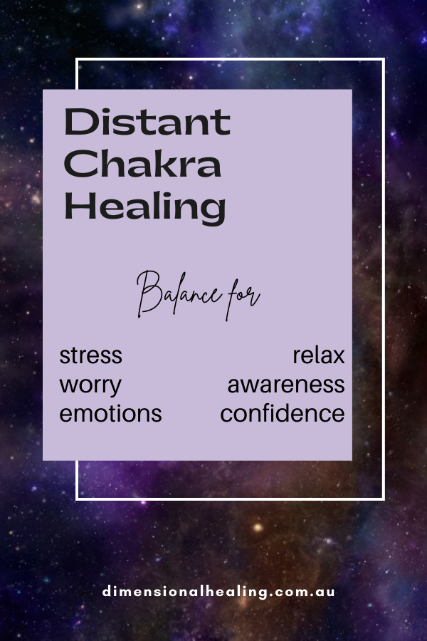 purple background picture with list of things to balance with distant chakra healing