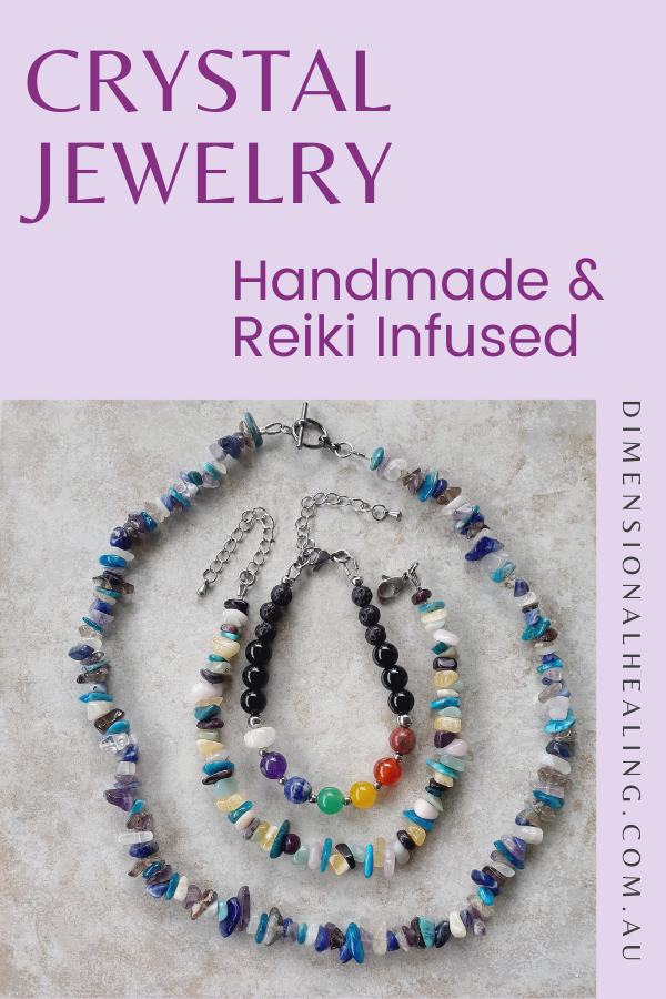 picture of crystal necklace and bracelet reiki infused and handmade