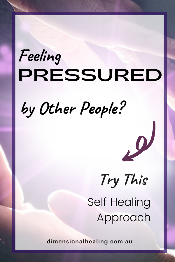 purple background with the question feeling pressured by other people? Try this self healing approach